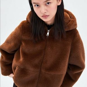 New from Zara Brown Faux Fur Jacket Size Small S